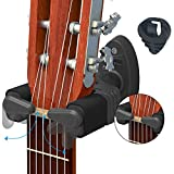 Guitar Wall Mount Hanger & Guitar Pick Holder, Auto Lock Design, Fits All Size Acoustic Electronic Guitar Bass plastic black - by LC Prime (UPGRADE Auto Lock Design 2 Packs)