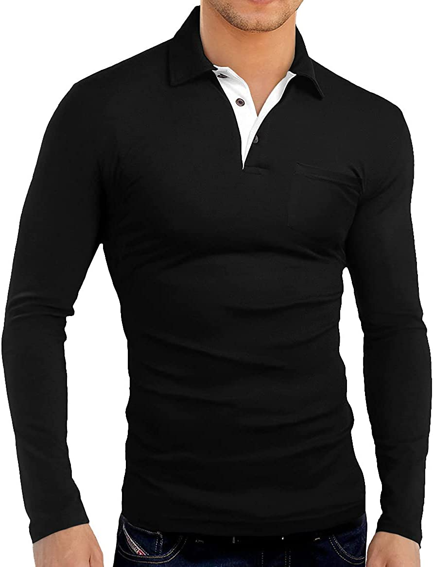 KUYIGO Lowest price challenge Men's Long Sleeve Polo Max 62% OFF Shirts Soft Slim Fit Casual Solid