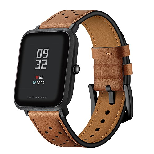AISPORTS - Correa para pulsera inteligente, cinoatuvke cib Amazfit Bip, Samsung Galaxy Watch, Galaxy Watch Active, Gear Sport, S3 Classic, 40-42mm, marrón