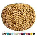 Taburete Knitting Pouf Pouffe Pouf óptica Grobstrick Ø 55 cm de Altura 37 cm Extra de Alta Color Amarillo limón