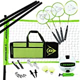 DUNLOP Outdoor Volleyball Badminton Lawn Game: 11-Piece Outdoor Backyard Party Set with Carrying Case, Black/Green