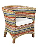 East at Main Continental Multi-Colored Rattan Occasional Accent Chair, (27x28x30)