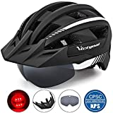 VICTGOAL Fahrradhelm MTB Mountainbike Helm mit abnehmbarem magnetischem Visier Abnehmbarer Sonnenschutzkappe und LED Rcklicht Radhelm Rennradhelm fr Erwachsenen Herren Damen (Black-White)