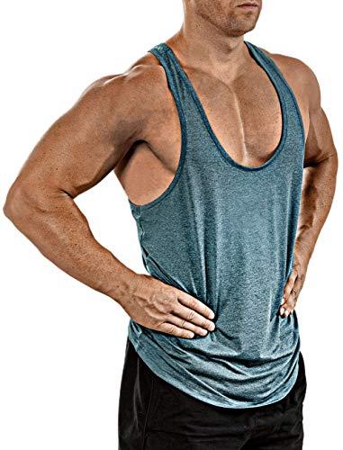 Herren Gym Muscle Weste Solid Color Low Cut Bodybuilding Tank Top Technische Stringer Lifting Fitness Übung Laufen Outfit Tops M-XXL (L, hellblau)