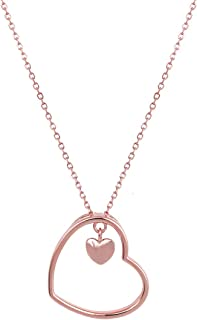 GIVA 925 Sterling Silver Rose Gold Heart Pendant with Link Chain | Necklace for Women And Girls | With Certificate of Auth...