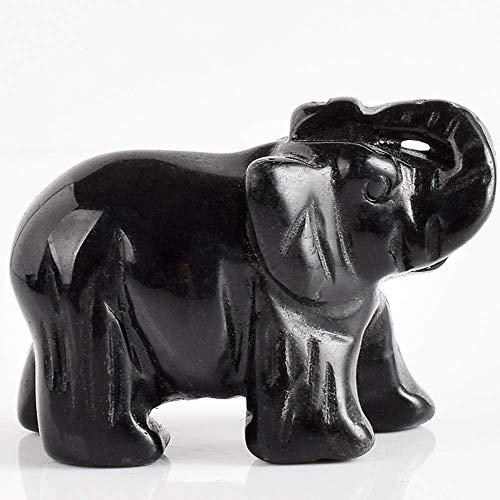 qingtianlove Tres 2 Pulgadas de Elefante de obsidiana Negra Natural Figura Gema Cristal Tallado Animales Estatua para decoración del hogar curación de Chakra, A, ON