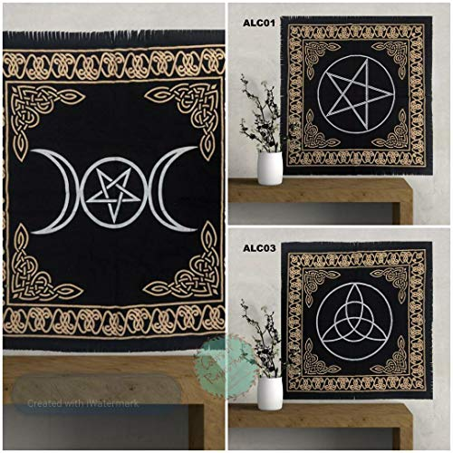 Set of 3 Altar Tarot Cloth 100% Cotton Triple Moon Goddess with Pentagram Triquetra Pentagram Wiccan Pentacle Pagan Yule Black Gold Silver