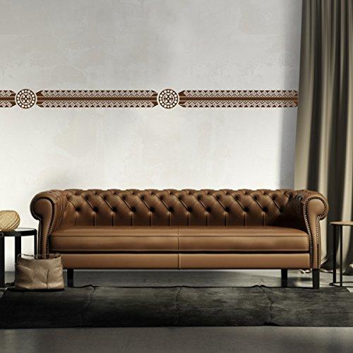 malango® Afrikanische Bordüre Wandtattoo Aufkleber Wandaufkleber Dekoration Schlafzimmer Wohnzimmer Styling Design 18 x 131 cm gold
