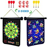Magnetic Dart Board for Kids - 2 Sided Roll Up Dartboard, Indoor Games for Kids with 6 Magnetic Darts and 6 Dart Balls
