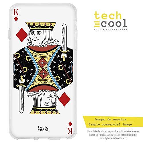 Funnytech® siliconen hoes voor BQ Aquaris U Plus [flexibele siliconengel, exclusief design] kaarten Baraja Francesa Koning met diamanten op witte achtergrond
