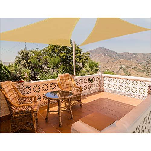 Joyards Toldo Vela de Sombra Triangular 3.6 Metros Transpirable Color Arena | Se instala fácil en fachada Exterior, terrazas, jardín, pérgola, Patio o balcón | Toldo Completo: 3 Cuerdas 1,5m y Manual