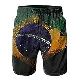 harry wang Te-Rex Mens Brasile Bandiera Sporco Estivo Traspirante Costume da Bagno Pantaloncini da Spiaggia Pantaloncini da Spiaggia M