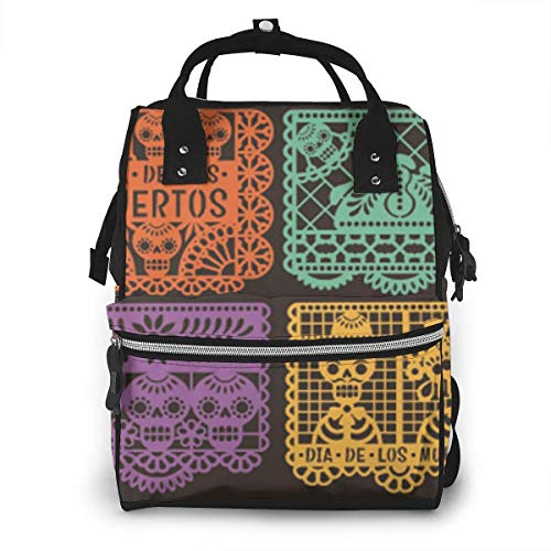 UUwant Sac à Dos à Couches pour Maman Day Dead Papel Picado Collection The Arts Abstract Diaper Bags Large Capacity Diaper Backpack Travel Nappy Bags Mummy Backpackling