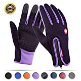 Achiou Touch screen Gloves for Winter Warm iPhone iPad Bicycling Cycling Driving Anti-Slip Gloves Running Climbing Skiing Outdoor Sports for Men Women(Purple,XL)