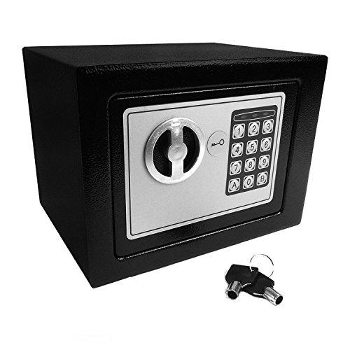 Hyfive Caja Fuerte de Seguridad electrónica con Teclado y Cerradura para Llave, Tornillos de Anclaje y Pilas Incluidas