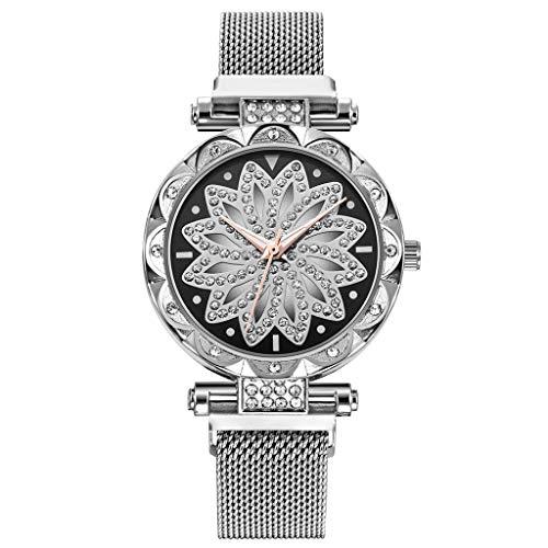 Hzing Damen Armbanduhr mit Mesh Uhr Einzigartiges Design Analoge Quarz Armbanduhren für Frauen Edelstahlband Business Kleid Uhren mit Drehendes Diamant Zifferblatt Damenuhren