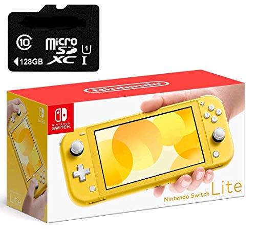 "Newest Nintendo Switch Lite Game Console, Yellow, 5.5"" Touchscreen, Built-in Plus Control Pad, W/128GB Micro SD Card, Built-in Speakers, 3.5mm Audio Jack"