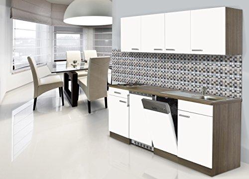 respekta Einbau Single Küche Küchenblock 195 cm Eiche York Nachbildung Weiss