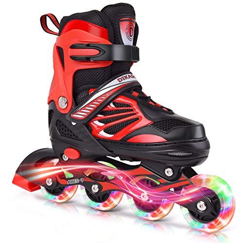DIKASHI Black Red Adjustable Inline Skates Boys Girls Kids Size,Light Up Beginner Roller Blades Skates for Boys Girls Kids Outdoor and Indoor