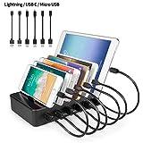 YOJA Ladestation Mehrere Geräte 6 Port USB Multi Ladestation Handy Tablet USB Ladegerät