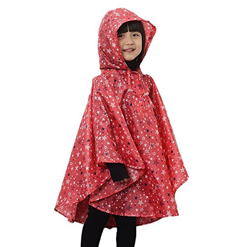 LOSORN ZPY LOSORN ZPY Kinder Mädchen Stern Regenjacke Regenmantel mit Kapuze Wasserdicht Softshelljacke Regenponcho rot L(125-150 CM)