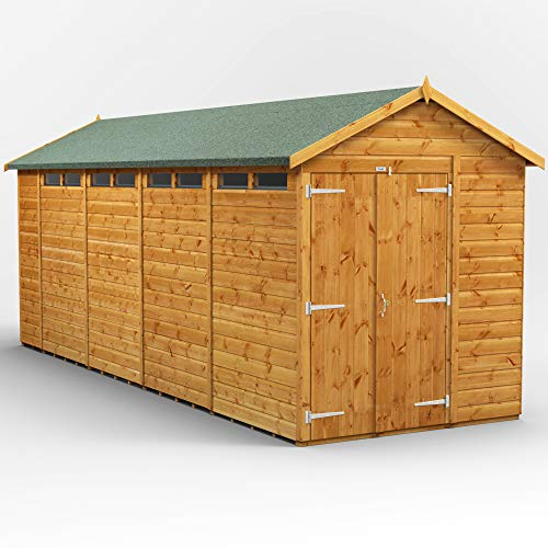 POWER | 18x6 Apex Security Wooden Garden Shed Double Door | Size 18 x 6 | Secure Sheds with super fast delivery