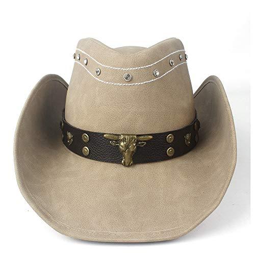 YIBANG-hat Chapeau de Cowboy Occidental for Hommes avec Bande de Taureau en Cuir Punk for Chapeau Somlero for Messieurs, léger, Respirant (Couleur : Tan, Taille : 58-59)