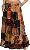 Exotic India Long Printed Dori Skirt from Gujarat with Patch Work Beige
