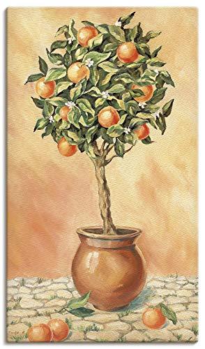 Artland Leinwandbilder auf Holz Wandbild 40x70 cm Hochformat Natur Botanik Pflanze Orange Baum Italien Toskana mediterran T5HX