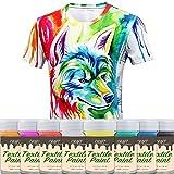 CRAFT Fabric & Textile Clothing Paint – Set of 8 x 20 ml / 0.7 fl oz Art and Hobby Paints – T-Shirt & DIY Kids Children Paint - Vivid Colors