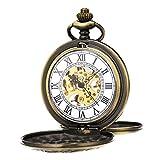 ManChDa® Mecánica Reloj de bolsillo Cazador de doble bronce Colgante vintage para los hombres...