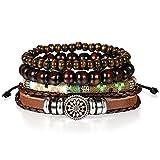 JewelryWe Bijoux Bracelet Artisanal Multi-Rangs Manchette Rétro Bois Perle Boule Tressé Cuir Alliage Fantaisie pour Homme et Femme