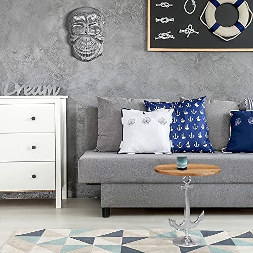 WOMO-DESIGN Mesa Auxiliar Decorativa Chipre con Ancla Mesita Redonda Ø 50x54 cm Plata Aluminio con Revestimiento de Níquel y Madera Mango Diseño Marítimo Moderno Mueble de Centro Salón para Café, Té
