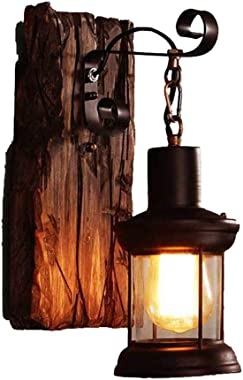 E26 Industrial Vintage Single Head Wall Lighting lamp, Rustic Glass Shade Wall Sconce Iron Wall Lamps Indoor for Bar Restaura