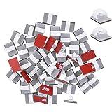 50pcs Clips de Cable Gestión de Cables Organizador de Cables Adhesivo Abrazadera de Cables para Mesa, Coche, Oficina, Casa, Soporte de Fijación de Alambre Cuerda para Cable de USB, TV, Audio, Blanco