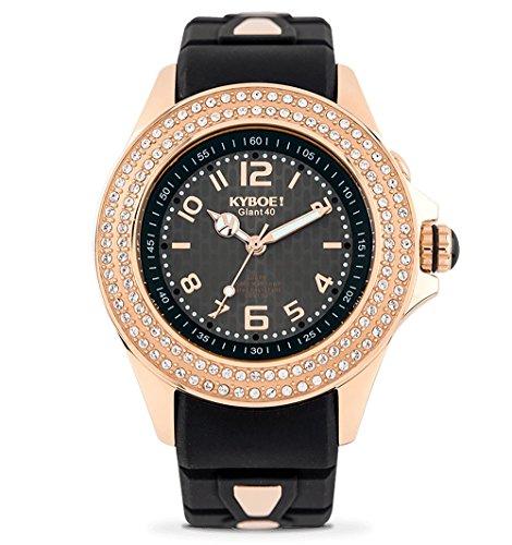 KYBOE! Reloj de Cuarzo de Acero Inoxidable y Silicona (Modelo: Radiant Elegance)