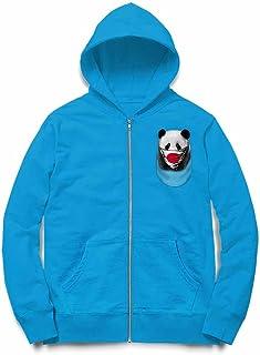 Fox Republic パンダ 日の丸 日本 ポケット オーシャンブルー キッズ パーカー シッパー スウェット トレーナー 110cm