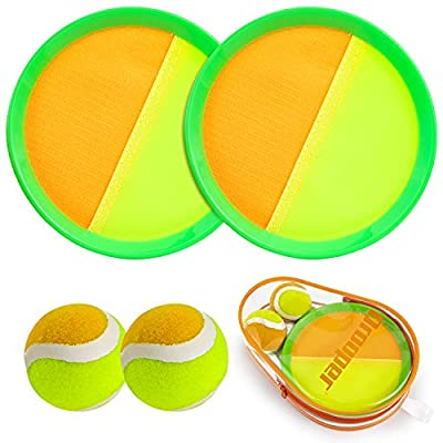 Qrooper Toss and Catch Beach Game Outdoor Toy for Kids and Adults Paddle Ball Throw Catch Game with 2 Paddles 2 Balls and 1 Storage Bag (Green)