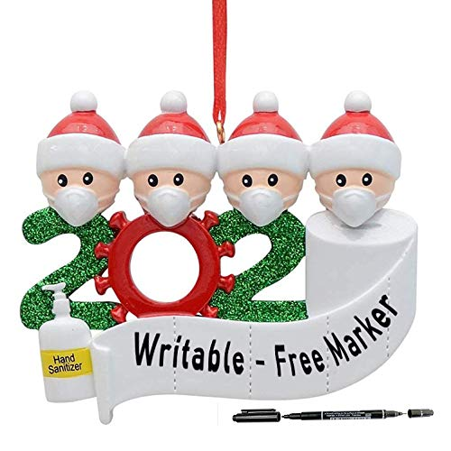 2020 Quarantine Christmas Decoration Gift Personalized Resin Christmas Tree Hanging Ornament Pandemic -Social Party Distancing Santa Claus with Mask Writable Ornaments Free Marker (4 People Design)