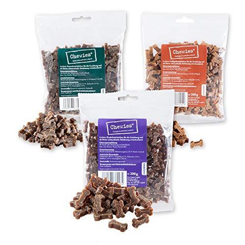 Chewies Hundeleckerli Mix MAXI - 3 x 200 g - Rind, Pansen und Geflügel Knöchelchen - Fleisch Softies ohne Zucker - Hundesnack mit hohem Fleischanteil (600 g)