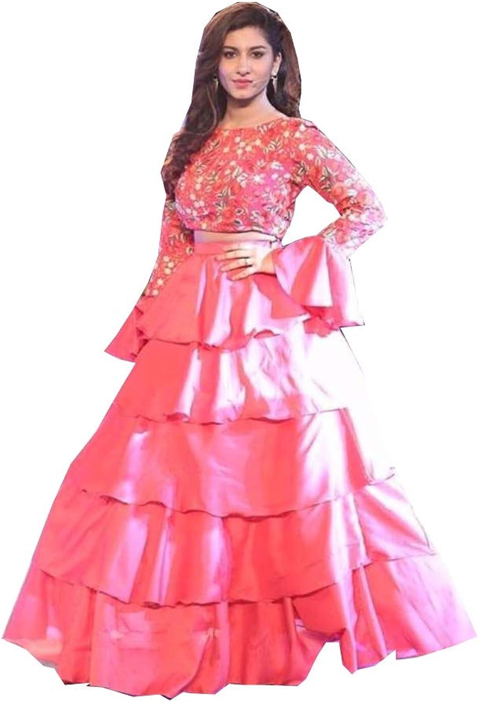 AMIT FASHIONS Exclusive Indian Designer Semi Stitch Lehenga Choli for Women's Pink