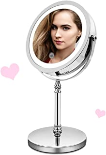 Magnifying Lighted Makeup Mirror, Double-Sided LED Vanity Mirror with Lights, 1X 10X Magnification Touch Screen Adjustable Light, 360 Rotation o USB or Battery Charged Mirror for Bathroom or Bedroom