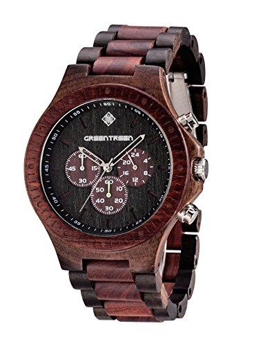 Orologio cronografo da uomo, in legno, fatto a mano, cronografo a movimento giapponese, impermeabile a 5atm, sandalo rosso misto a nero