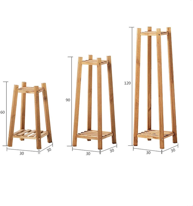 ZXW Wooden Multi-Layer Flower Shelf Indoor Balcony Living Room Floor Stand (color   Retro color, Size   30  90CM)