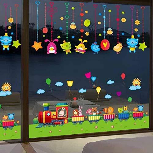 Puerta de vidrio decoración de la ventana pegatina de doble cara girasol habitación infantil-pequeño_Un borde de tren y un encanto de animal pequeño