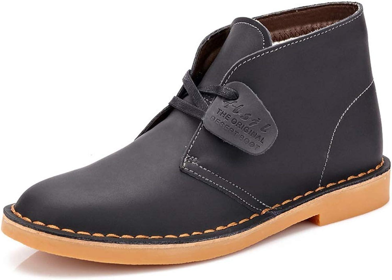 Qiusa Mens Classic Chukka Stiefel Weiche Sohle Rutschfeste Echtleder Casual Casual Ankel Stiefel (Farbe   Grau, Größe   EU 42)  Guter Preis