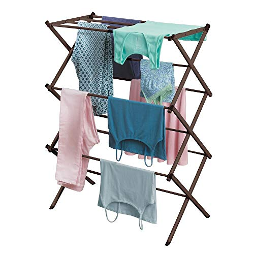 mDesign Tall Vertical Foldable Laundry Drying Rack - Compact Portable and Collapsible for Storage - Large Capacity expands to 295 Inches Bronze