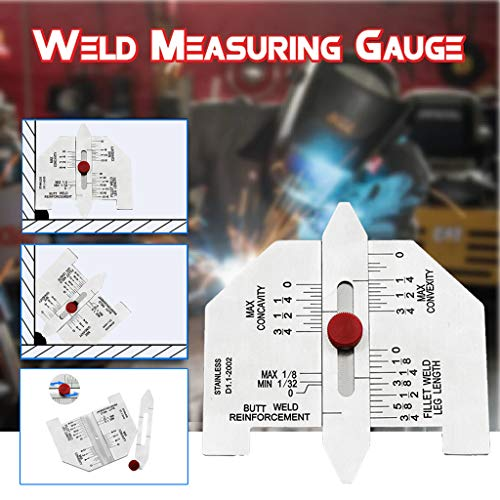fine_fine Weld Measuring Gauge, Portable Durable Practical Weld Measuring Gauge Weld Inspection Measure, Metal Welding Gage Plated Size Inspection Tool, (Silver)