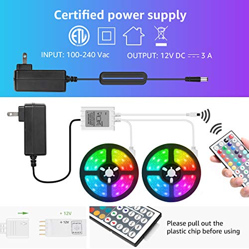 LED Strip Lights 32.8ft, RGB LED Light Strip, 5050 SMD LED Color Changing Tape Light with 44 Key Remote and 12V Power Supply, LED Lights for Bedroom, Home Decoration, TV Backlight, Kitchen, Bar 7