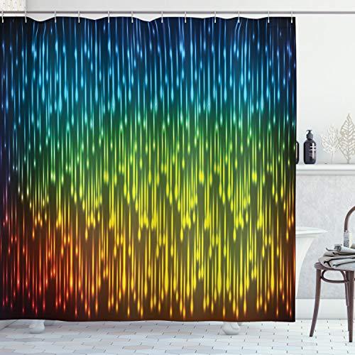 ABAKUHAUS Duschvorhang, Galaxy Universum Weltraum Inspiriert Technischen Neonregen Modernes Kunstvolles Dekor Druck, Blickdicht aus Stoff inkl. 12 Ringe für Das Badezimmer Waschbar, 175 X 200 cm